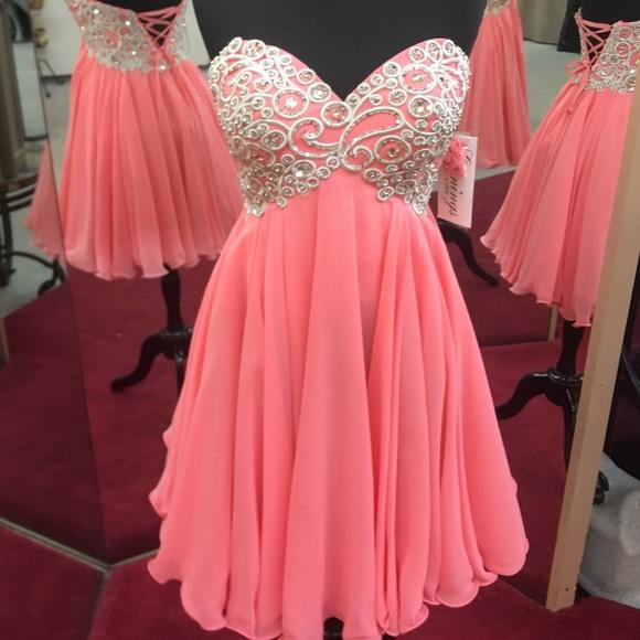 Evenings By Allure Dresses Coral Short Formal Dress 10 Poshmark